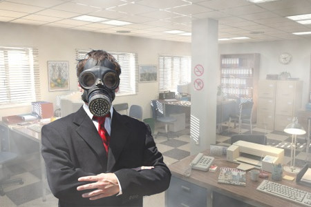 Employee-wearing-gas-mask